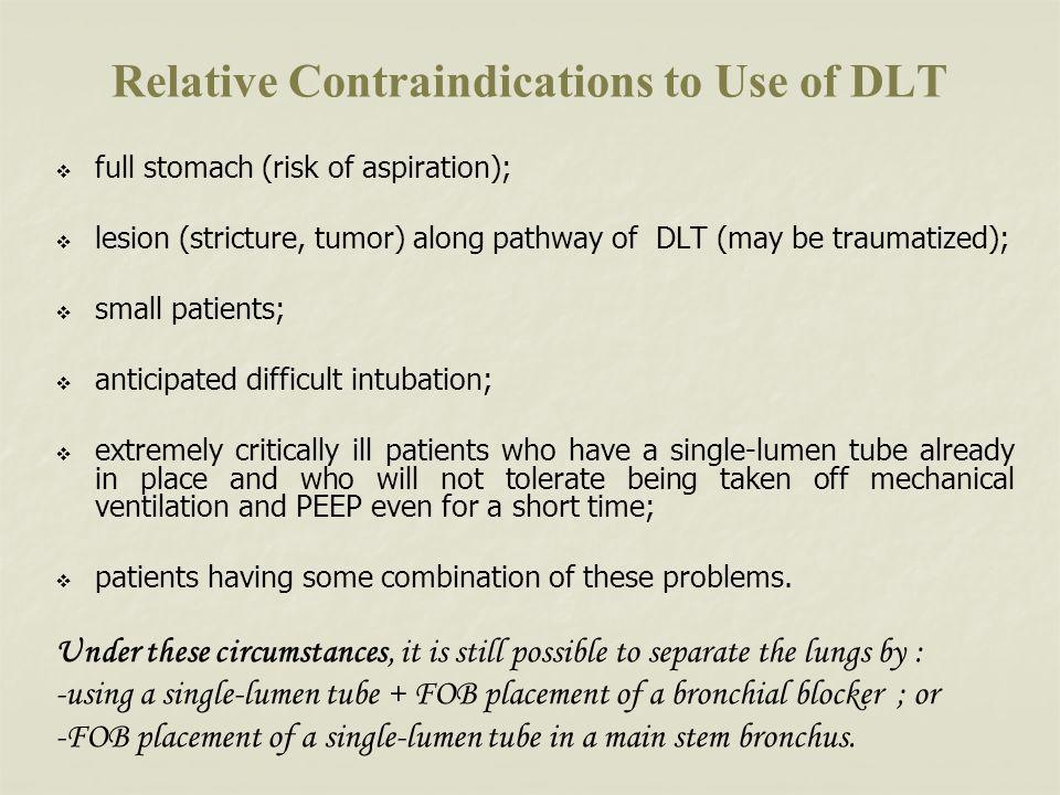 Relative Contraindications to Use of DLT