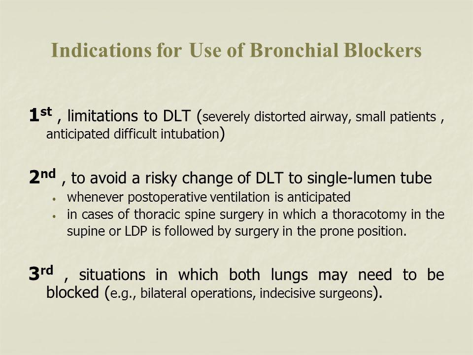 Indications for Use of Bronchial Blockers
