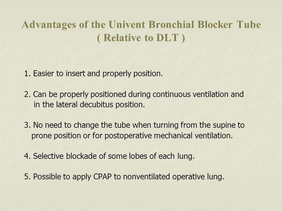 Advantages of the Univent Bronchial Blocker Tube ( Relative to DLT )