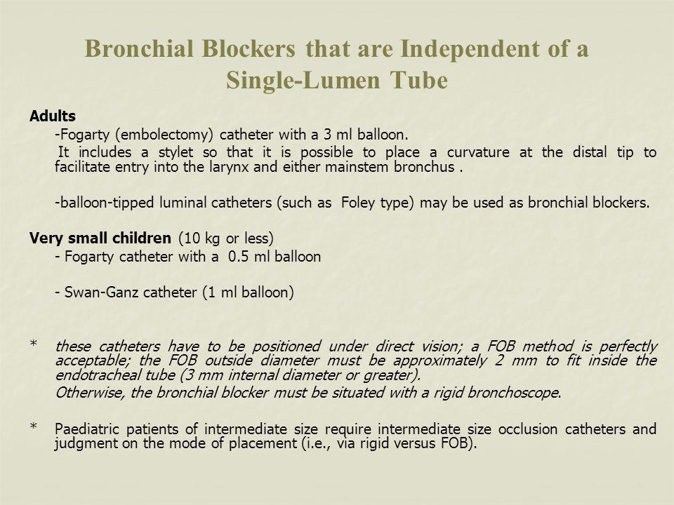 Bronchial Blockers that are Independent of a Single-Lumen Tube