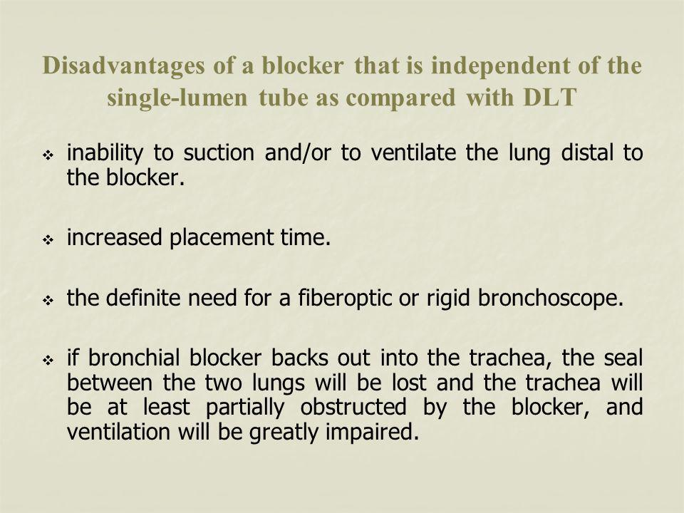 Disadvantages of a blocker that is independent of the single-lumen tube as compared with DLT
