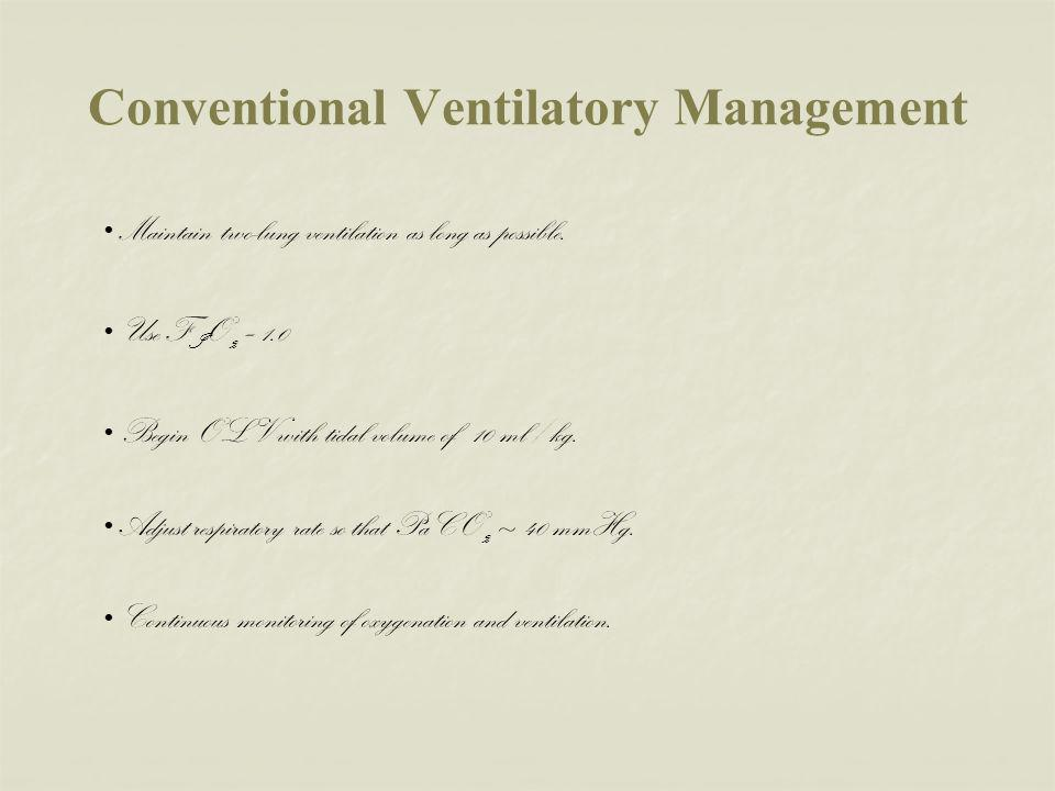 Conventional Ventilatory Management
