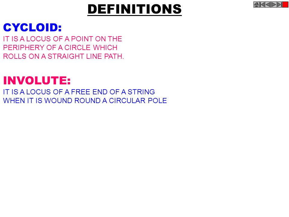 DEFINITIONS CYCLOID: INVOLUTE: IT IS A LOCUS OF A POINT ON THE