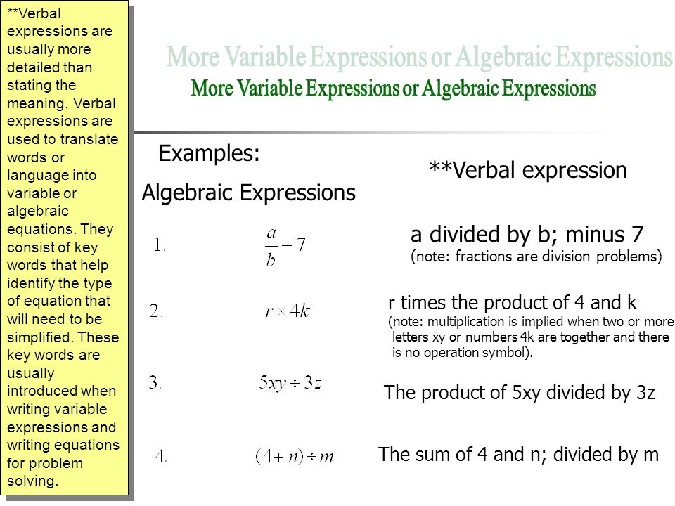 1.1 Variables and Expressions In the algebraic expression 4s, the ...