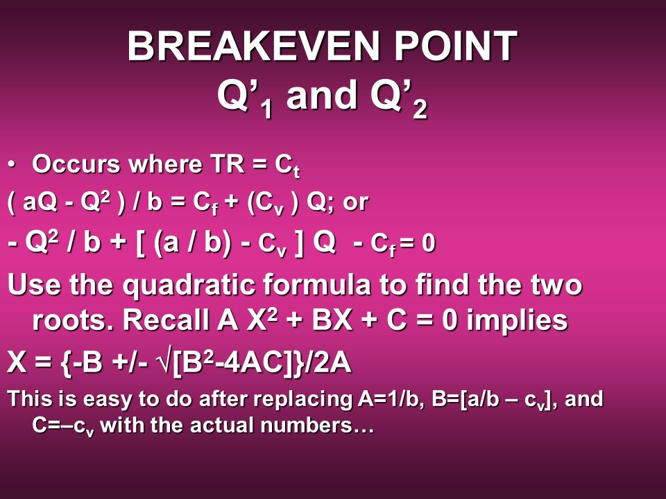 BREAKEVEN POINT Q'1 and Q'2