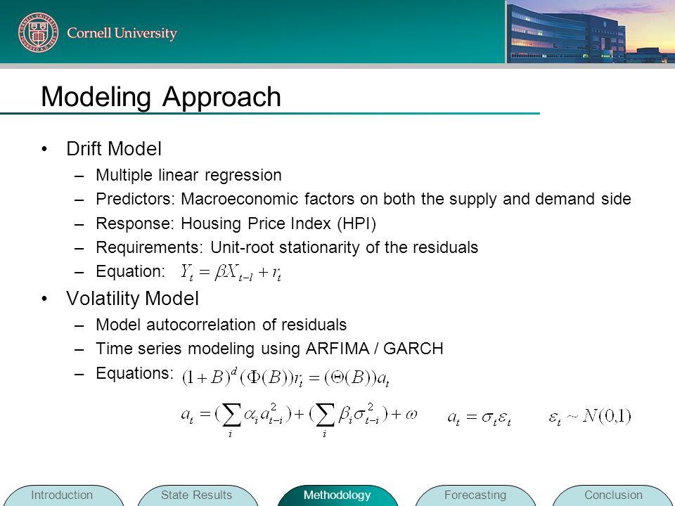 Modeling Approach Drift Model Volatility Model