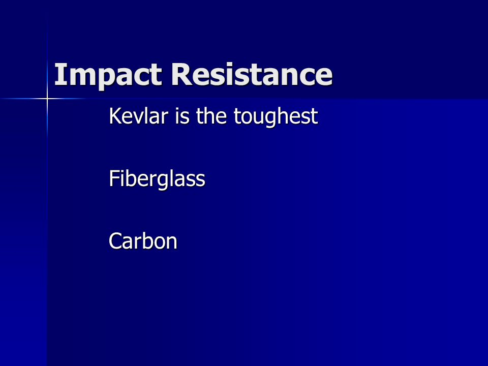 Kevlar is the toughest Fiberglass Carbon