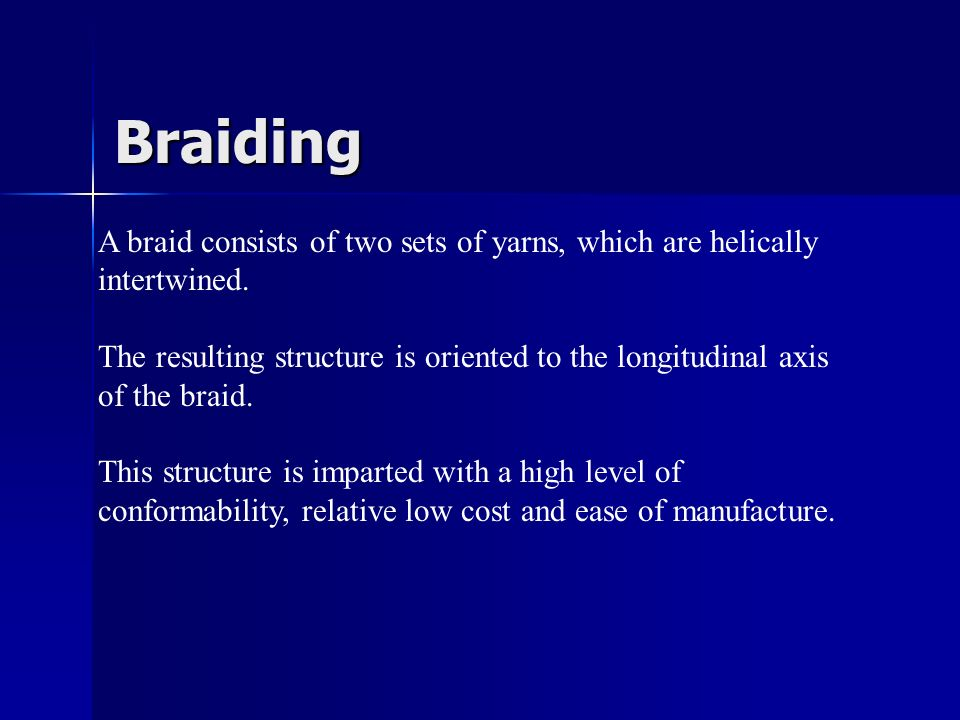 Braiding A braid consists of two sets of yarns, which are helically intertwined.