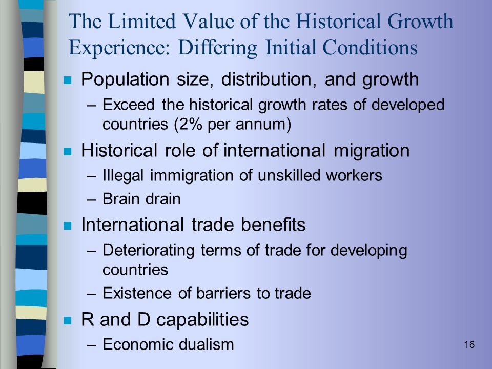 The Limited Value of the Historical Growth Experience: Differing Initial Conditions