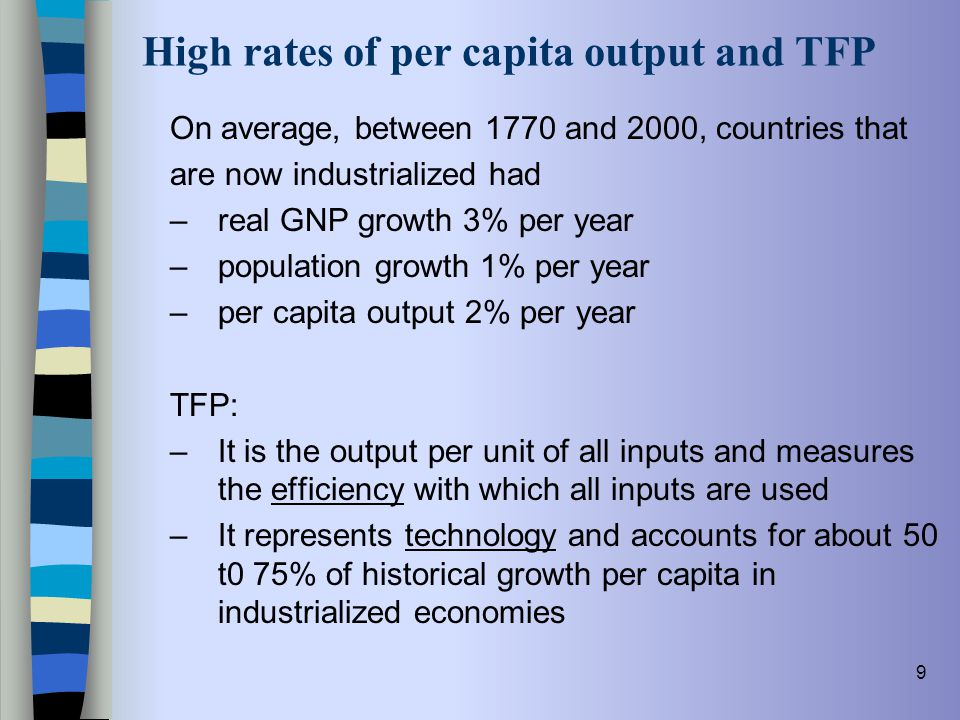 High rates of per capita output and TFP