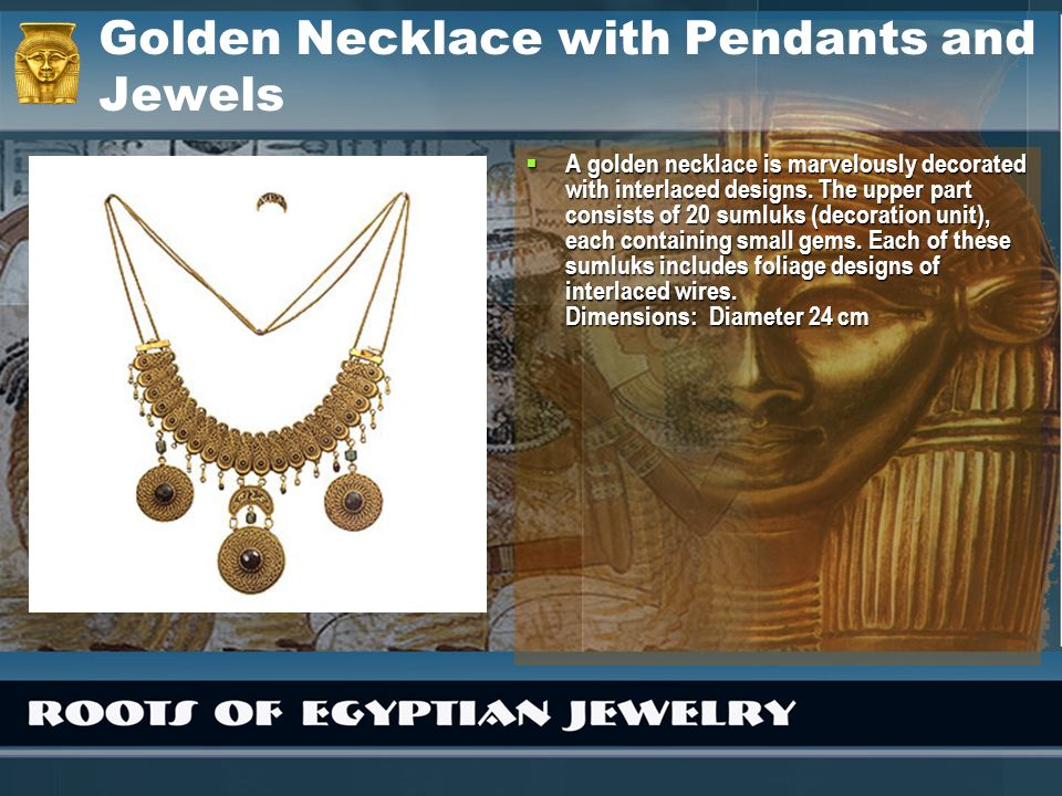 Golden Necklace with Pendants and Jewels