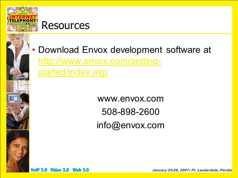 Resources Download Envox development software at http://www.envox.com/getting-started/index.asp. www.envox.com.