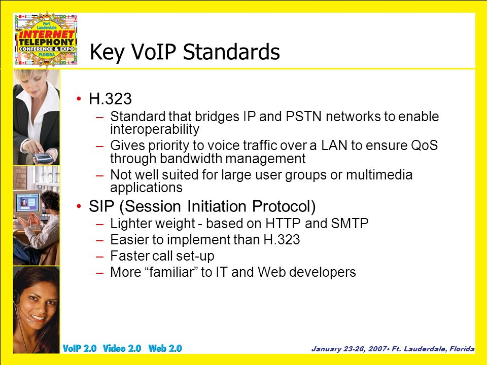 Key VoIP Standards H.323 SIP (Session Initiation Protocol)