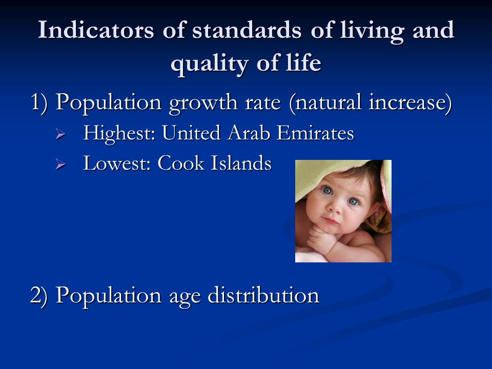 Indicators of standards of living and quality of life