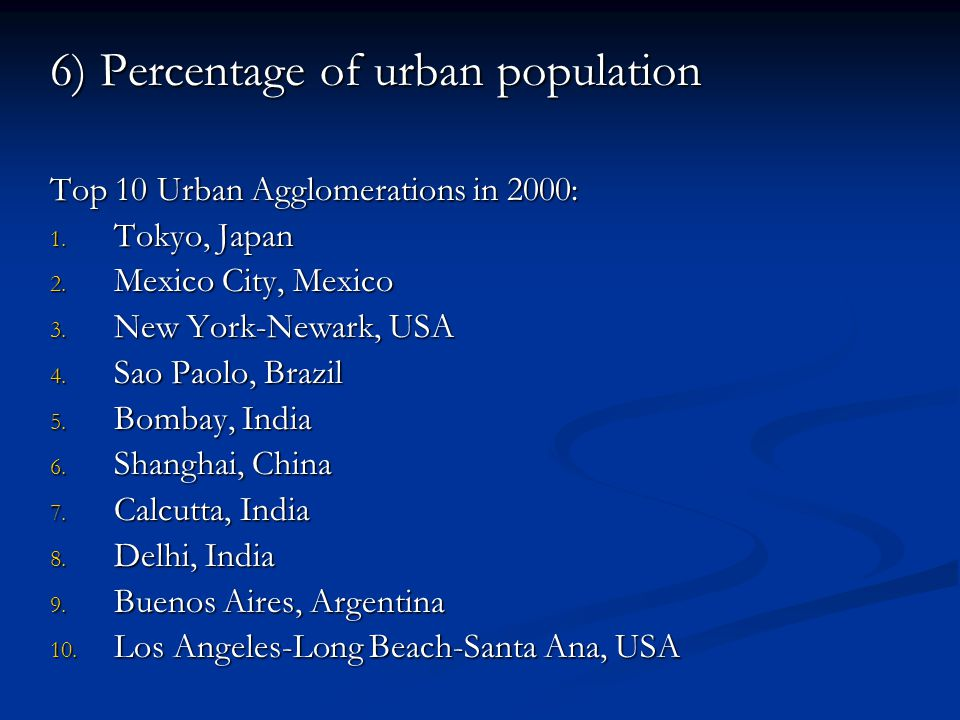6) Percentage of urban population