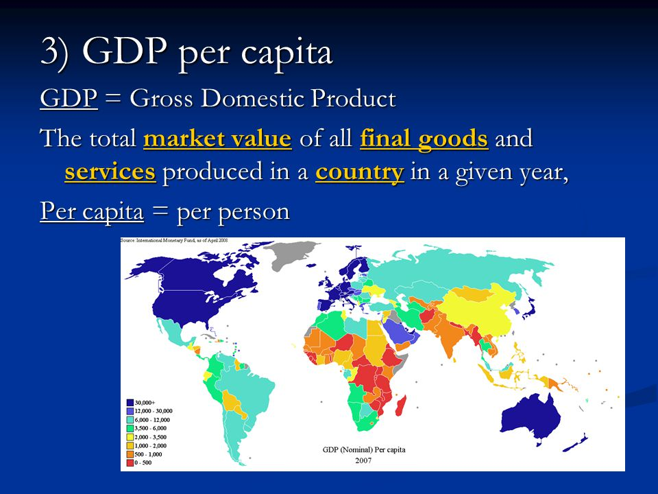 3) GDP per capita GDP = Gross Domestic Product