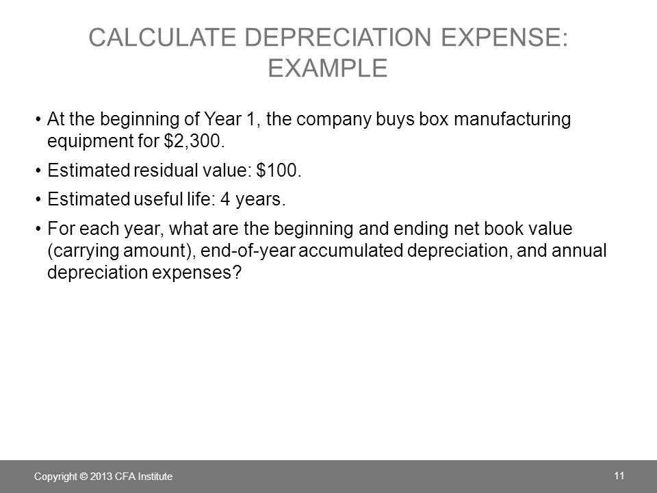 Calculate depreciation expense: example