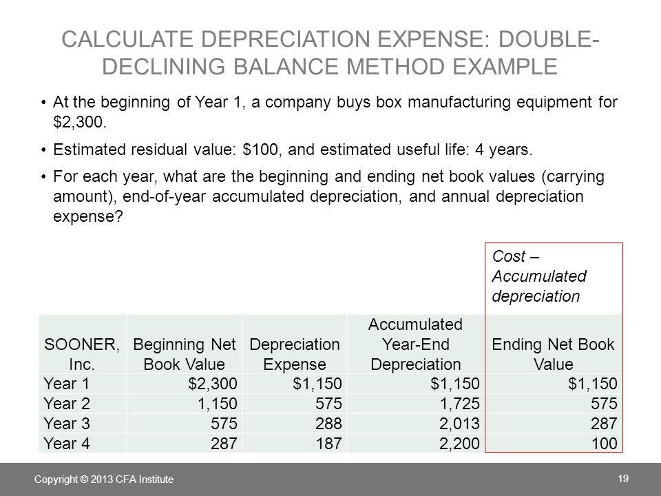 Calculate depreciation expense: double-declining balance method example