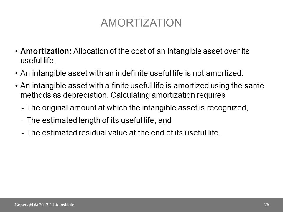 Amortization Amortization: Allocation of the cost of an intangible asset over its useful life.