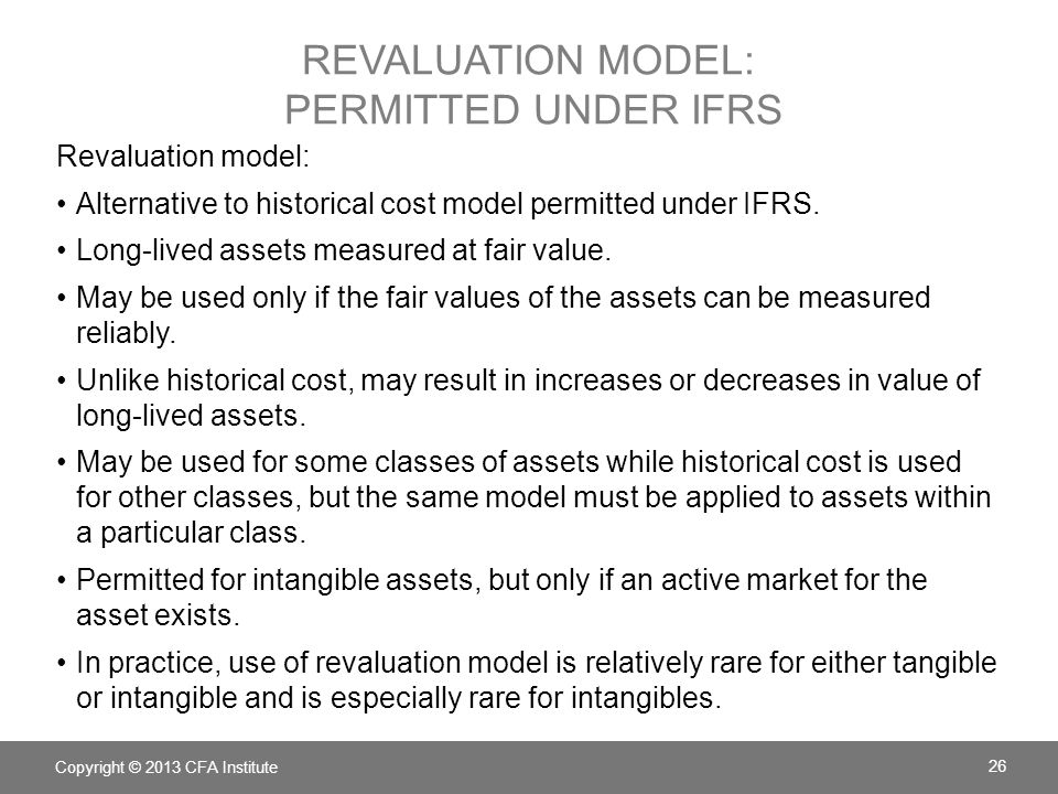 revaluation model: permitted under IFRS