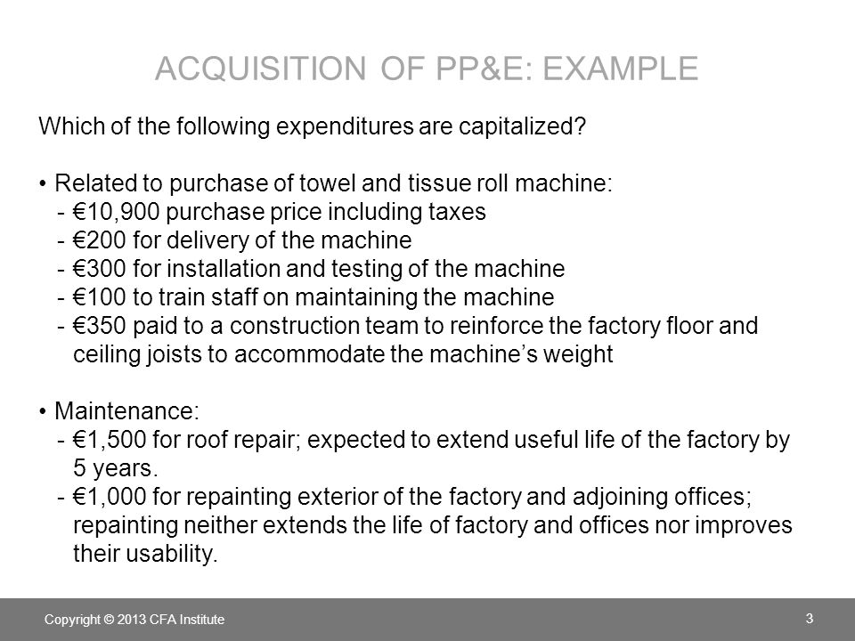 Acquisition of pp&e: example
