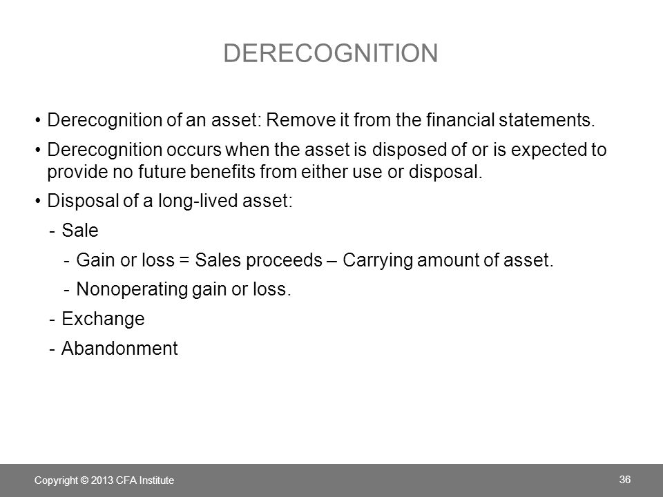 Derecognition Derecognition of an asset: Remove it from the financial statements.
