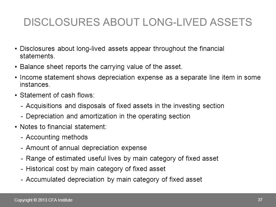 Disclosures about long-lived assets
