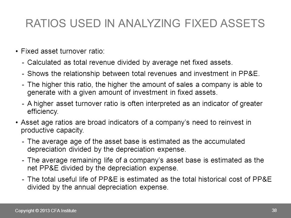 Ratios used in Analyzing fixed assets