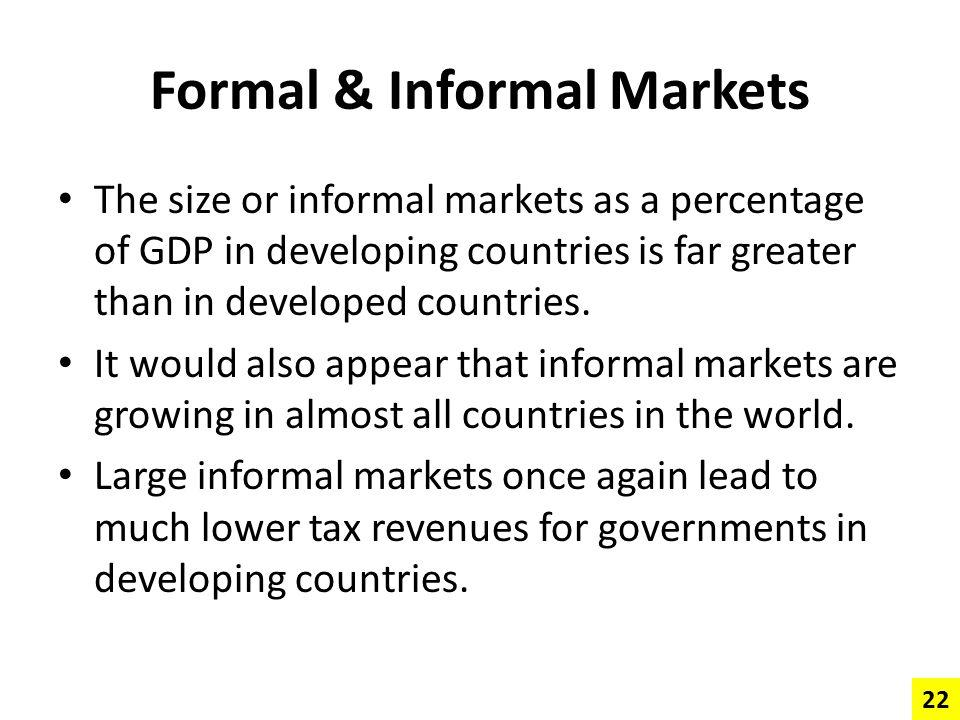 Formal & Informal Markets