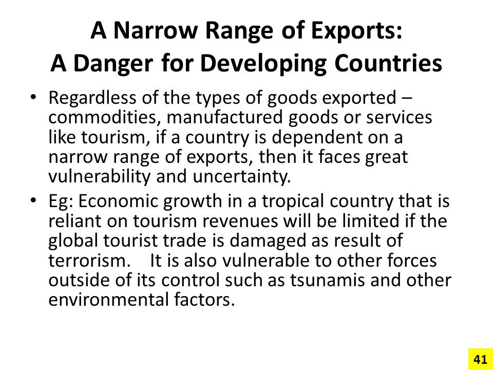 A Narrow Range of Exports: A Danger for Developing Countries
