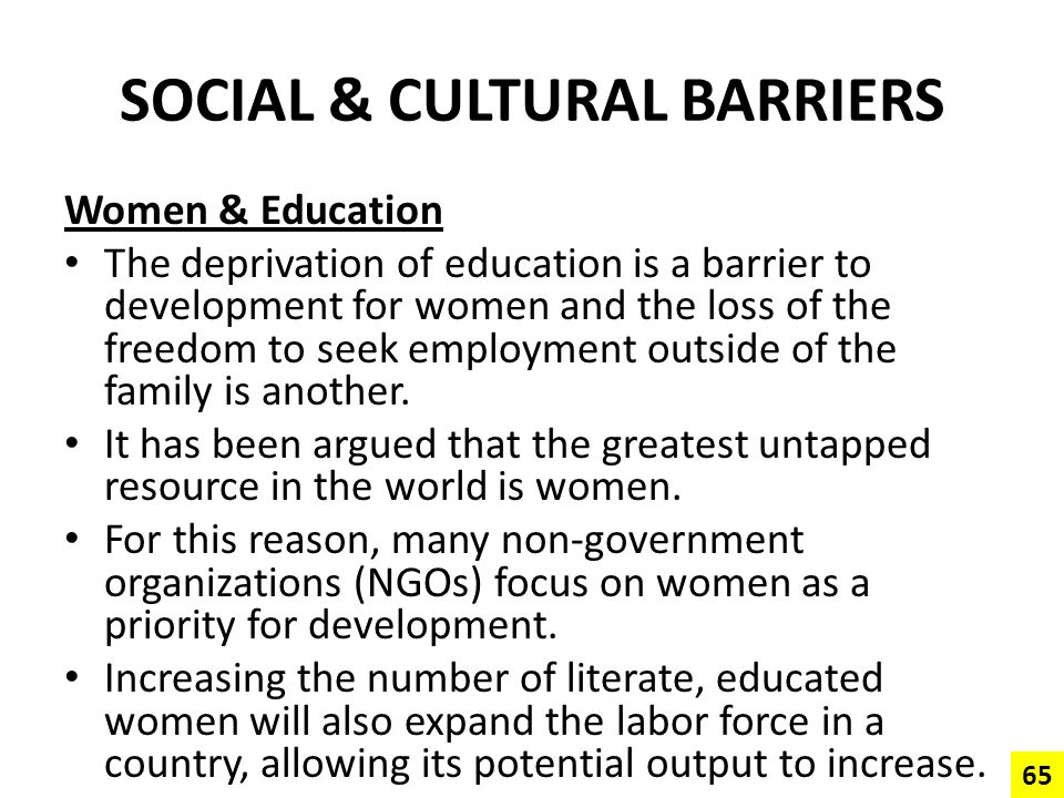 SOCIAL & CULTURAL BARRIERS