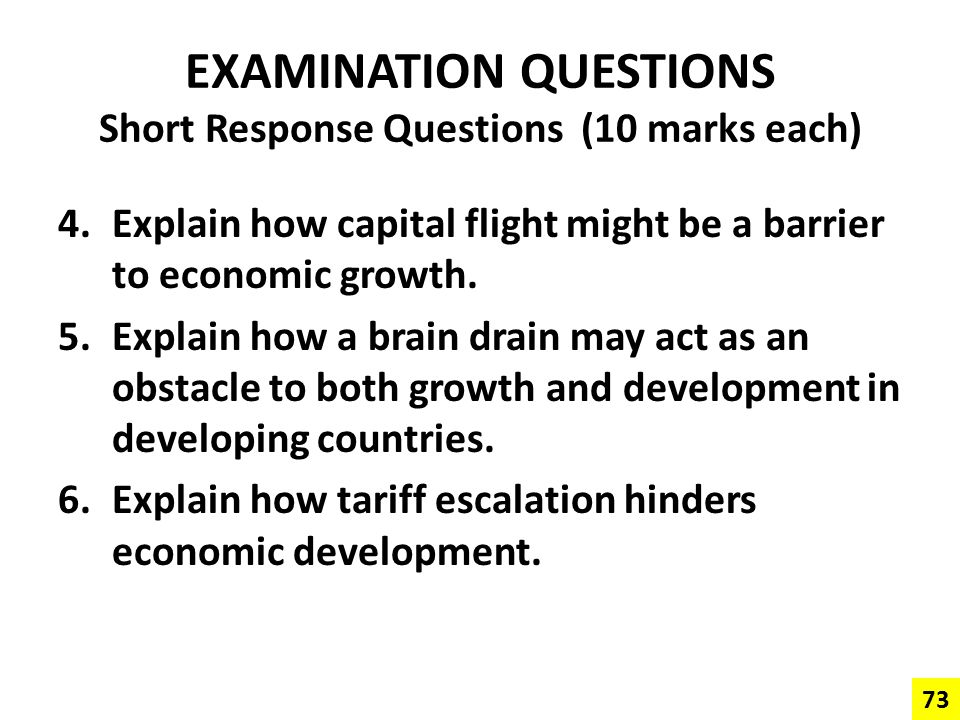 EXAMINATION QUESTIONS Short Response Questions (10 marks each)