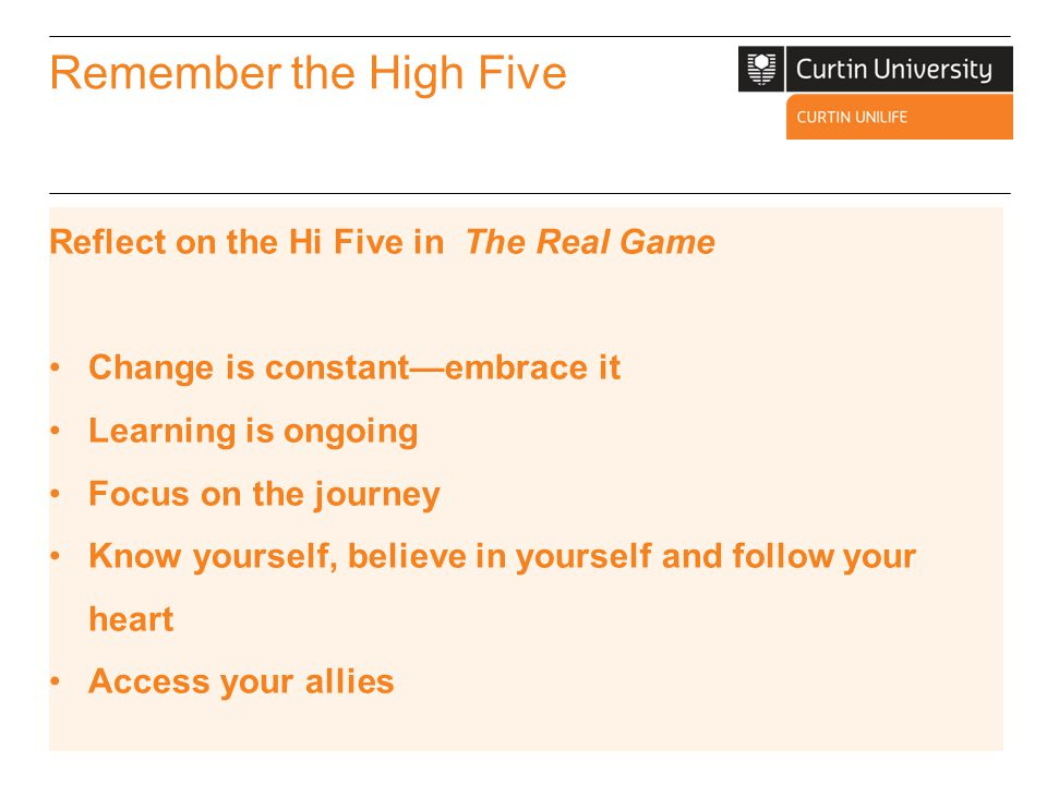 Remember the High Five Reflect on the Hi Five in The Real Game