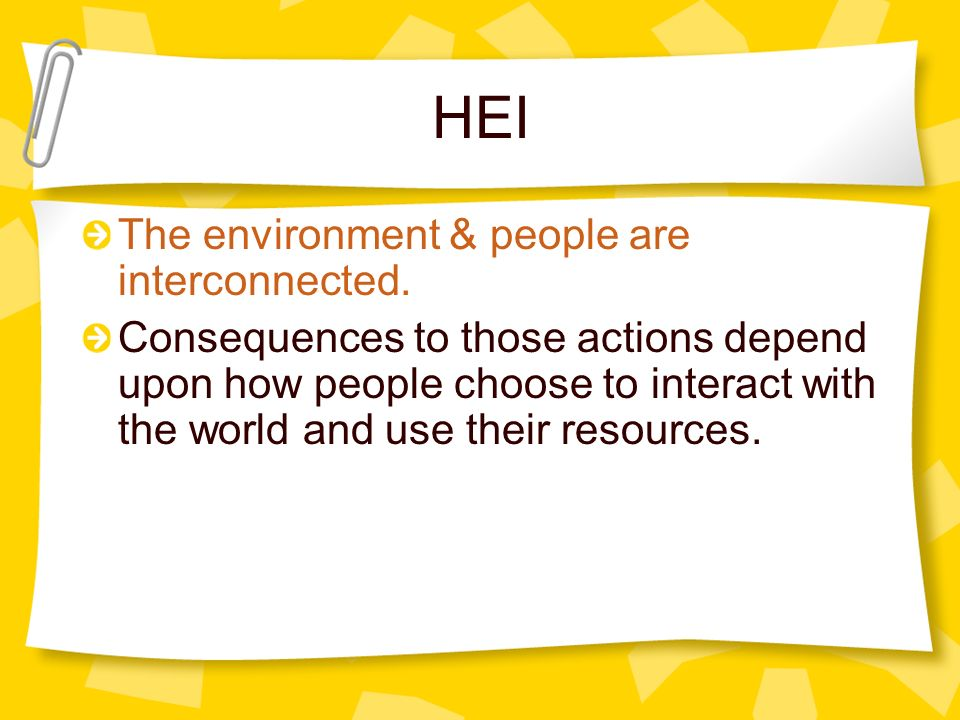 HEI The environment & people are interconnected.