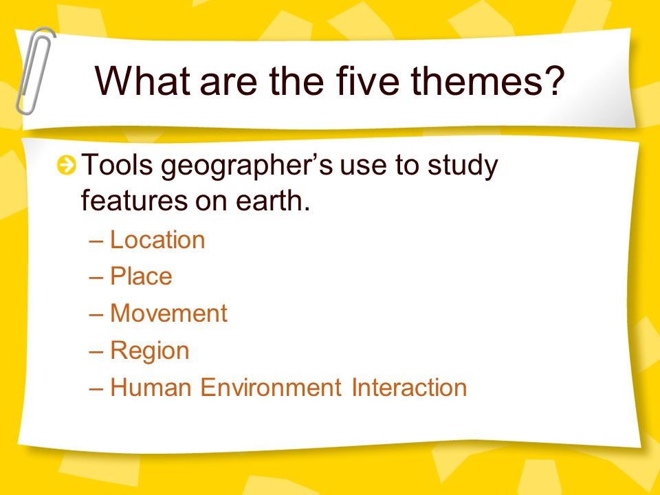 What are the five themes
