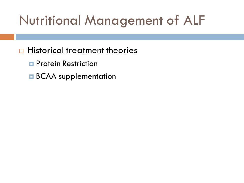 Nutritional Management of ALF