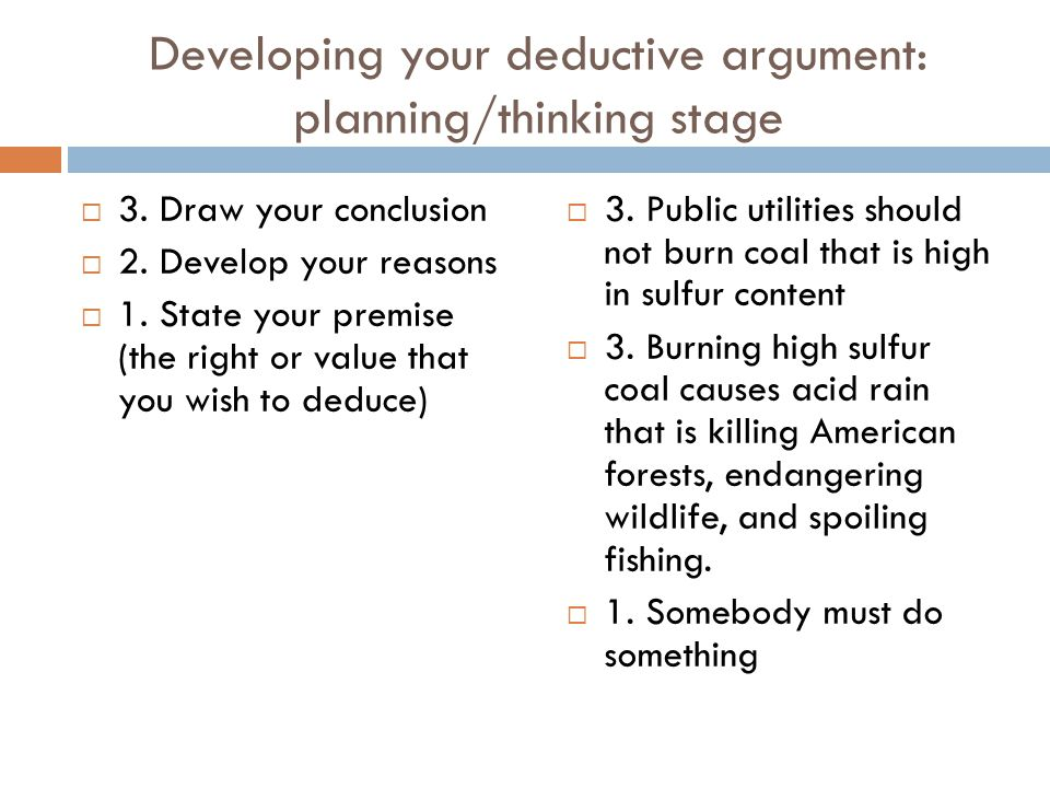 Developing your deductive argument: planning/thinking stage