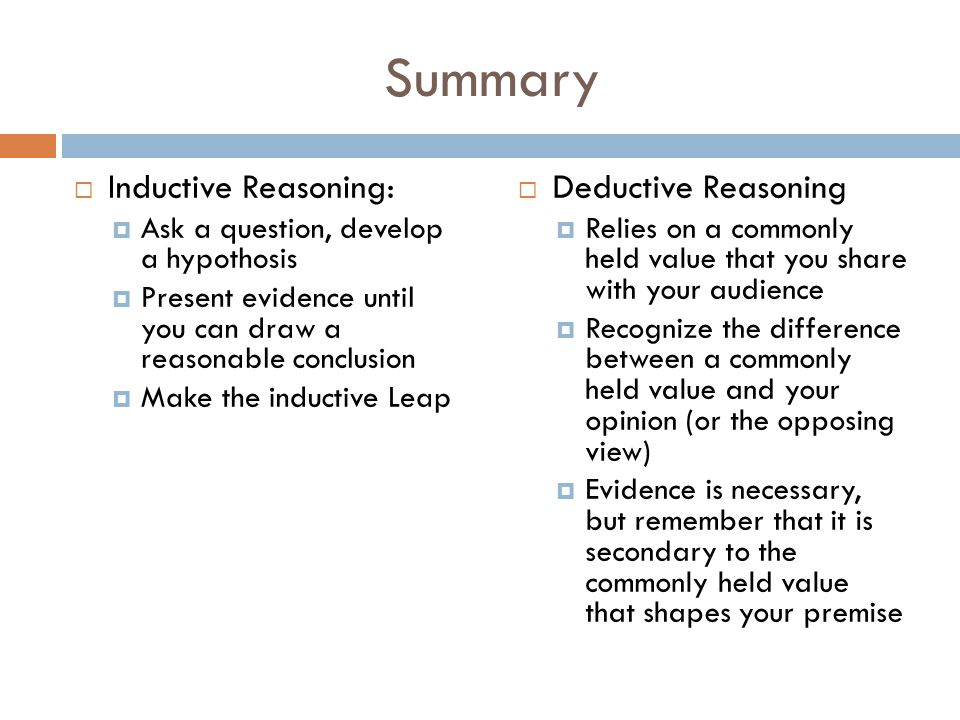 Summary Inductive Reasoning: Deductive Reasoning