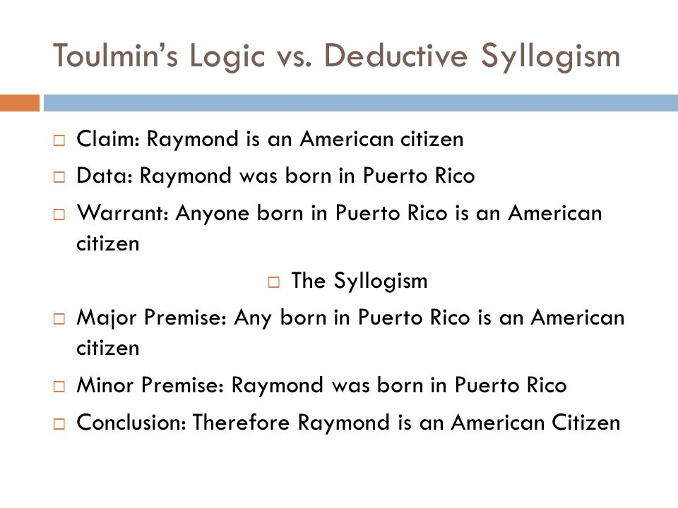 Toulmin's Logic vs. Deductive Syllogism