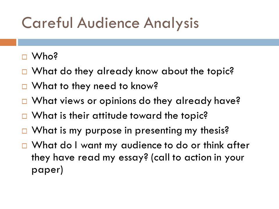 Careful Audience Analysis