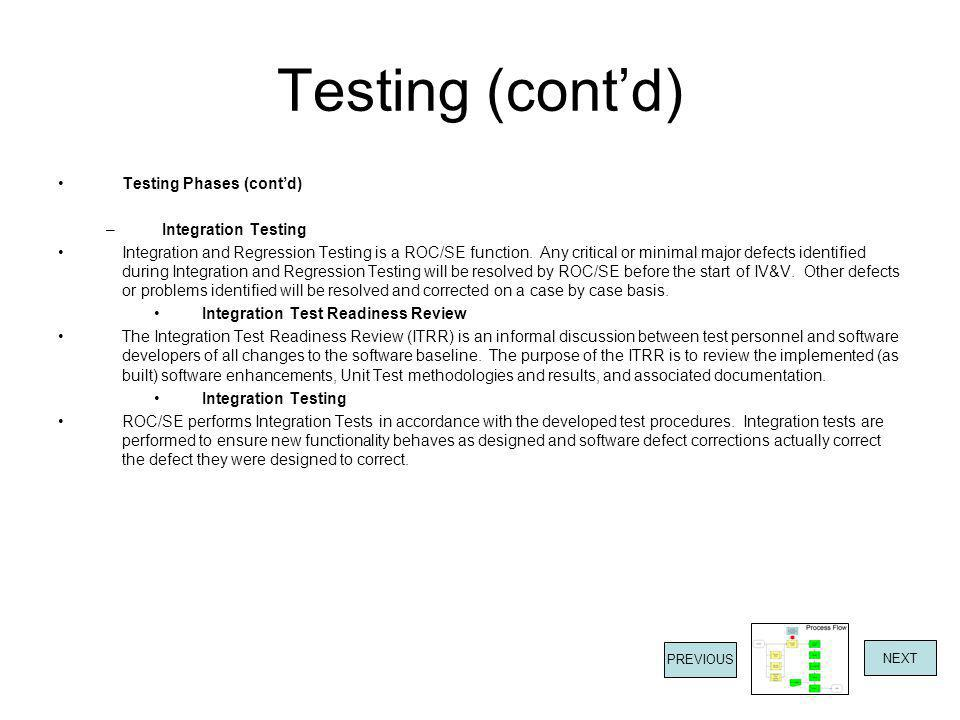 Testing (cont'd) Testing Phases (cont'd) Integration Testing
