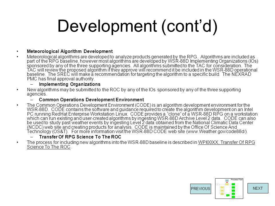 Development (cont'd) Meteorological Algorithm Development