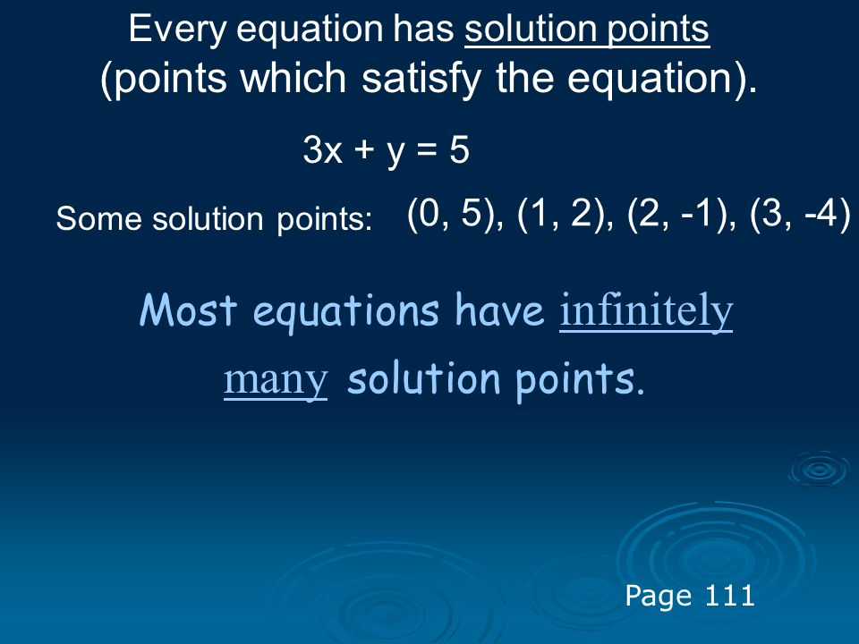 Most equations have infinitely many solution points.