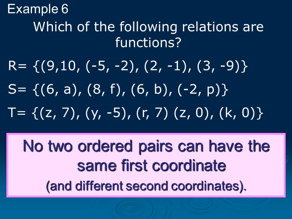 No two ordered pairs can have the same first coordinate