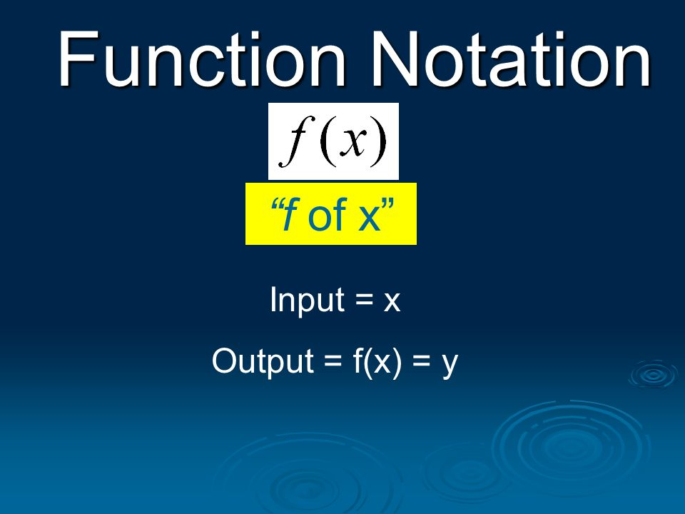 Function Notation f of x Input = x Output = f(x) = y