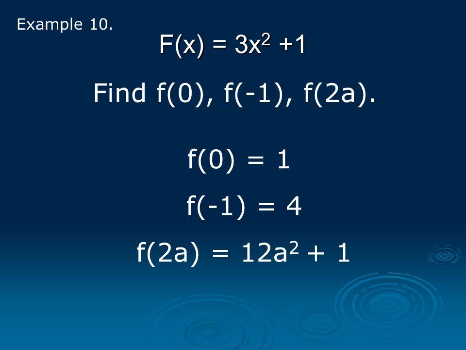 F(x) = 3x2 +1 Find f(0), f(-1), f(2a). f(0) = 1 f(-1) = 4