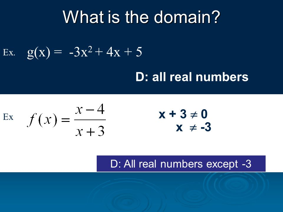 D: All real numbers except -3