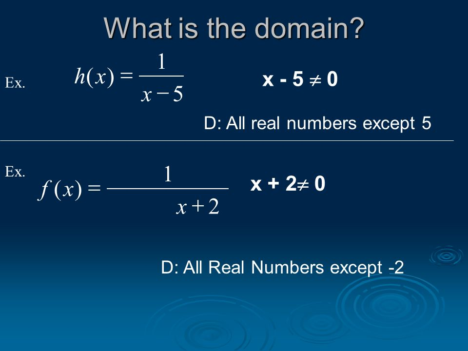 What is the domain h x ( ) = f x ( ) = x - 5  0 x + 2 0
