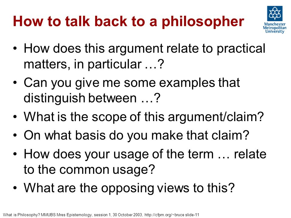 How to talk back to a philosopher