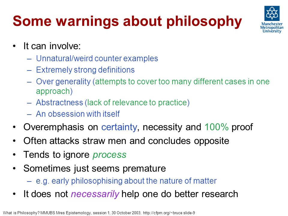 Some warnings about philosophy
